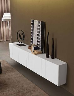 Lacquered suspended sideboard with doors InclinART Collection by Presotto Industrie Mobili Sideboard Modern, Credenza, Side Board, Treatment Rooms, Italian Furniture, Komodo, Console Table, Designer, Furniture Design