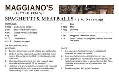 Maggiano's meatballs recipe. Maggiano's has the BEST spaghetti ever