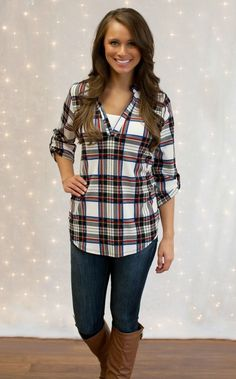 The Pink Lily Boutique - Ivory Rugged Plaid Blouse, $38.00 (http://thepinklilyboutique.com/ivory-rugged-plaid-blouse/)