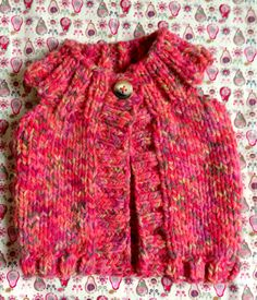 Vibrant pink and coral chunky gilet - hand knitted by Mama T  Www.facebook.com/MamaTsCraftyCreations  Gorgeous! Would co-ordinate beautiful with any little girls wardrobe! ❤