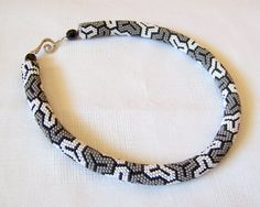 Bead crochet necklace with geometric pattern  Beaded by lutita, $90.00