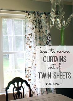 DIY no sew curtains out of twin sheets. Cut a slit in each side of the top fold and slide the rod through. || My Life and Kids