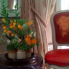 Pretty orange flowers in pots