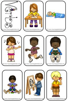 FREEBIE - Verbs - Mini- Flashcards If you are interested in the entire set with posters, DinA5 flashcards (with &without words) and Minicards (with & without words), please check out www.teachenglishkids.com