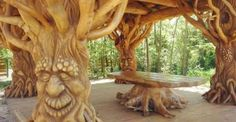 There are so many wonderful and wacky works of art! Chainsaw carving at it's best! You just can't st ...