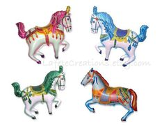 """Carousel Horse Balloon Large 35"""" Mylar Balloon  Choose One (1) Color or All 4 Colors *Pink *Blue *Green *Multi Color   Balloons ship flat (not inflated)"""