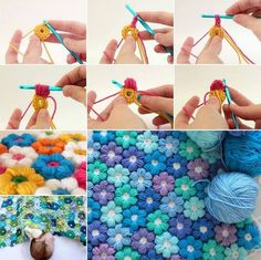Crochet Button Flower Wall Art. Pattern by 'The Hat & I'