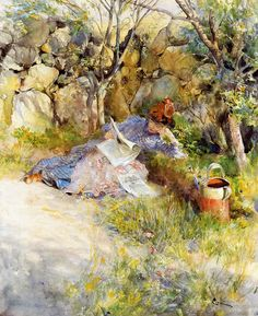 A Lady Reading a Newspaper (1886). Carl Larsson (Swedish, 1853-1919). Watercolor on paper.
