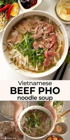 Asian Recipes, Mexican Food Recipes, Beef Recipes, Soup Recipes, Vegetarian Recipes, Dinner Recipes, Healthy Recipes, Vietnamese Pho Soup Recipe, Pho Soup Recipe Easy