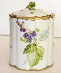 Biscuit Jar with fruit and ladybug .signed-by artist Anna Weatherley Vintage Dishes, Antique Dishes, Pickle Jars, China Painting, Antique China, Chocolate Pots, Porcelain Ceramics, Cookie Jars, Tea Set