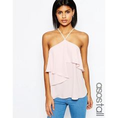 ASOS TALL Halter Neck Ruffle Front Cami Top (1600 RSD) ❤ liked on Polyvore featuring tops, pink, woven top, spaghetti-strap tops, layering cami, halter neck tops and strappy cami top