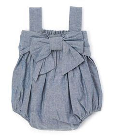 fb59f3a06b47 Another great find on  zulily! Chambray Bow Bubble Romper - Infant   zulilyfinds Cute
