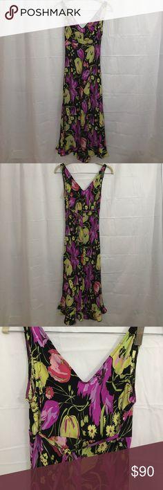 "Betsey Johnson 100% silk floral midi sundress Floral print midi sundress. 100% silk. Ties in back. Ruffle at bottom. Chest: 37"". Neckline to hem: 37.5"". Betsey Johnson Dresses Midi"