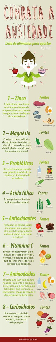 Combata a ansiedade: lista de alimentos para apostar - Blog da Mimis #blogdamimis #alimentos #infográfico #dieta #ansiedade