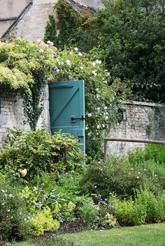 I love painted gates and fences. Gardening is so much more than natural tones. Painted gate, Cotswolds garden