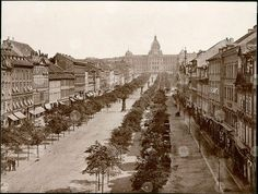 Wenceslas Square in year 1890 with newly built National Museum on top of… Prague Castle, History Photos, National Museum, Walking Tour, More Pictures, Natural History, Historical Photos, Old Town, Paris Skyline