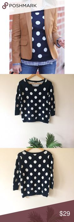 Polka Dot Sweater This polka dot sweater is so fun and in perfect condition. This is a great layering piece as pictured in the style inspiration photo. Lightweight soft cotton. Size M. Length: 24 inches/Bust 18 inches flat. Old Navy Sweaters Crew & Scoop Necks