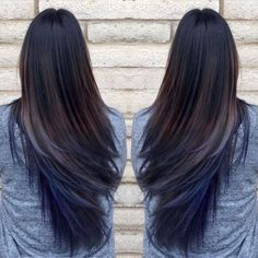 Brown hair with blue underneath                                                                                                                                                     More