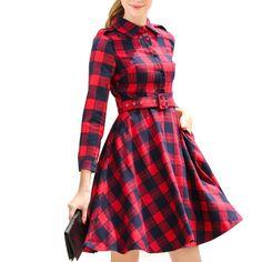 Xadrez vermelha t vestido de camisa nova moda lapela manga comprida Big balanço outono de malha mulheres vestido Vestidos YHM1908