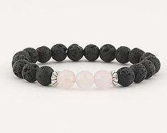 lava stone Lava bead bracelet, diffuser bracelet, stretch bracelet, beaded bracelet, essential oils, pink quartz, women's bracelet