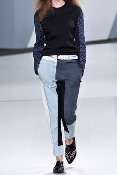 3.1 Phillip Lim|Patchwork chambray tapered pants|NET-A-PORTER.COM