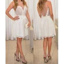Vestido Renda Casamento Civil Batizado Solto Clássico Branco