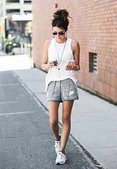 Fit sporty summer outfits, summer workout outfits, hot weather outfits, w. Sporty Summer Outfits, Summer Workout Outfits, Hot Weather Outfits, Workout Attire, Sport Outfits, Casual Outfits, Hiking Outfits, Nike Outfits, Summer Shorts
