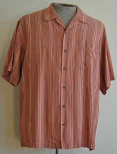 Tommy Bahama Shirt L Mens Hawaiian Multi-Color Striped 100% Silk Short Sleeve  #TommyBahama #Hawaiian  free shipping Buy Now  $24.95