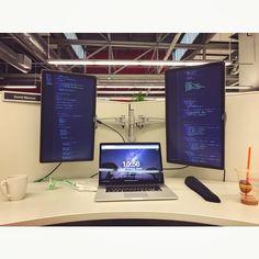 Set up my battlestation at work. . . . . . . . #battlestations #battlestation #apple #macbookpro #macbook #programming #software #development #OSX #python #django #javascript