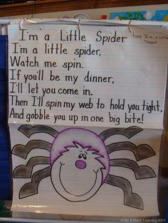 I'm a Little Spider Song Chart from Me & Marie Learning