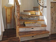 funky stair treads and risers | view of the stairs to the top floor reclaimed wood as stair treads ...