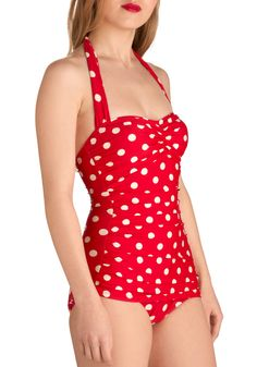 Esther Williams Beach Blanket Bingo One Piece in Red | Mod Retro Vintage Bathing Suits | ModCloth.com