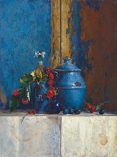 Ben Snijders  Blue Still Life with Rosehips  1989