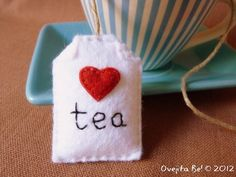 Tea bag felt bookmark with little heart by ovejitabe on Etsy, €6.00