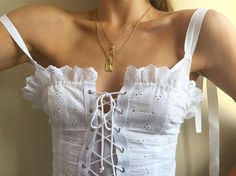 Laced up frilly top