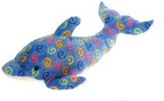 "23"" Large Blue Dolphin with Swirl Print Plush Stuffed Animal Toy by Fiesta Toys"