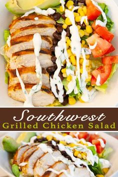 Southwest Grilled Chicken Salad is light, healthy and fresh - full of vegetables and topped with warm spicy chicken, avocado and a creamy cilantro dressing. It's a salad that is so full of flavour, your tastebuds will be very pleased. Best Salad Recipes, Salad Dressing Recipes, Real Food Recipes, Healthy Recipes, Ww Recipes, Grilled Chicken Salad, Grilled Chicken Recipes, Best Chicken Recipes, Chicken Salads