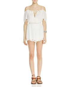 Free People White Romance Eyelet Romper Shorts Jumper Size s Small  NWT #FreePeople #Romper