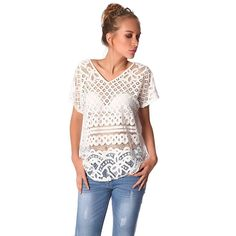 White embroidered sheer lace smock top