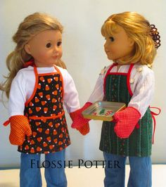 Pixie Faire Flossie Potter Holiday Baker Apron and Oven Mitts Doll Clothes Pattern Designed to Fit Dolls such as American Girl® - PDF American Doll Clothes, Ag Doll Clothes, Baby Clothes Patterns, Doll Patterns, Dress Patterns, Sewing Patterns, Girls Dollhouse, Pixie, Girl Dolls