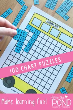 100 Chart puzzles for back to school and the entire year. Students will locate numbers to become familiar with order and position of numbers 1-100.