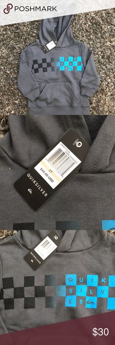 NWT Quicksilver Hoodie Size 2t NWT grey and blue Quicksilver Hoodie Quiksilver Shirts & Tops Sweatshirts & Hoodies