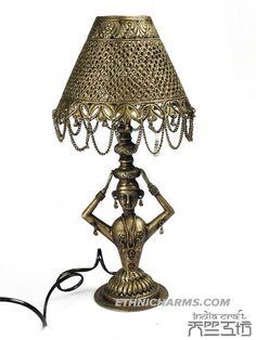 Tibetan silver table lamp  (copper nickel alloy)