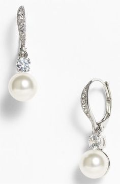 Free shipping and returns on Nadri Drop Earrings (Nordstrom Exclusive) at Nordstrom.com. Milky simulated pearls and beckoning crystals climb silvered lever-back earrings.