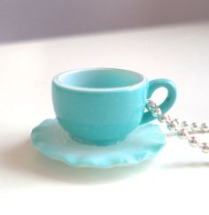 Blue ruffled teacup necklace by LoveYourBling on Etsy