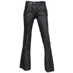 Preowned Alexander Mcqueen Black Leather Skull Pants ($1,350) ❤ liked on Polyvore featuring pants, black, leather pants, hipster pants, flared pants, patch pants and vintage pants