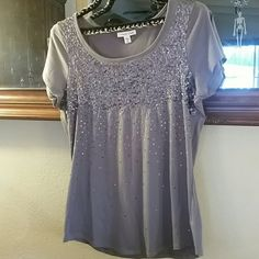 Cold Water Creek top Gun metal gray sequined top. Some pilling. Fits like a large. Coldwater Creek Tops Tees - Short Sleeve