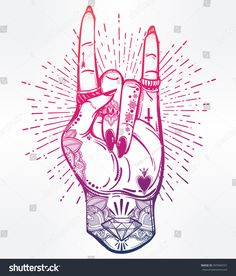 Illustration of Hand drawn romantic flesh art rock festival poster. Rock and Roll hand sign. Tattoo design, music, occult symbol for your use. vector art, clipart and stock vectors. Buraka Tattoo, Tattoo Life, Tattoo Drawings, Body Art Tattoos, Art Drawings, Tattoo Maori, Tatoos, Tatouage Xo, Boys With Tattoos