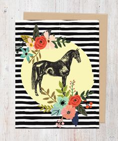 Our Black Horse greeting card features a unique vintage horse with a colorful…