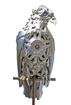 Eagle by Ptolemy Elrington - made from hubcaps and other scrap metal